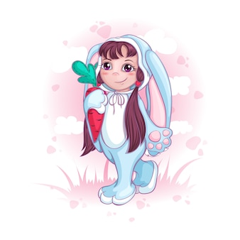 A girl in a bunny suit. Children in fancy dresses or pajamas.