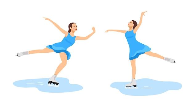 드레스를 입은 소녀가 아이스 댄스 댄스에서 피겨 스케이팅에 종사하고 있습니다. 사진 세트
