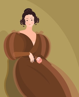 큰 소매가 달린 푹신한 18-19 세기 드레스를 입은 소녀. 머리에 귀여운 곱슬 머리. 고귀한 초상화. 플랫 만화 스타일의 다채로운 그림입니다.