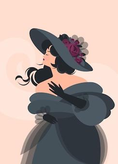 18〜19世紀の灰色のふわふわのドレスと手袋をした女の子が立っています。風の中の黒い髪。フラットな漫画スタイルのカラフルなイラスト。