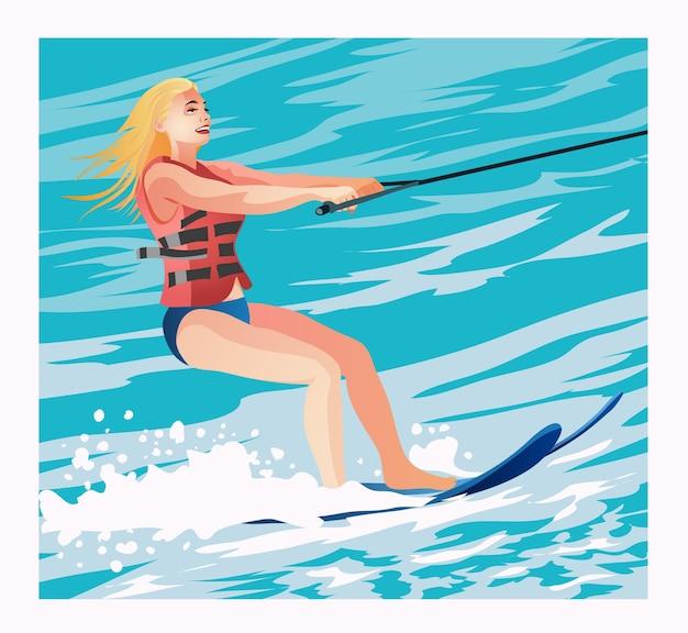 Девушка в спасательном жилете на водных лыжах летом. красивая женщина, девушка на водных лыжах, наслаждаясь летом