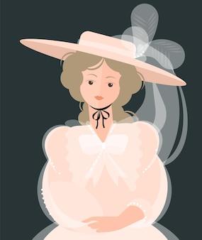 Девушка в легком платье 18-19 века и шляпе с большими полями и перьями. благородный портрет. красочные иллюстрации в плоском мультяшном стиле.