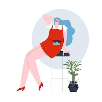 赤いドレスを着た女の子が高いバースツールフラットベクトルに座っています
