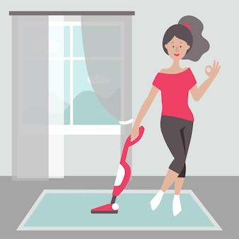 거실에 진공 청소기가 있는 빨간 티셔츠와 검은색 바지를 입은 소녀. 산이 내려다보이는 창, 회색 및 흰색 커튼. 바닥에 파란색 깔개입니다. 평면 벡터