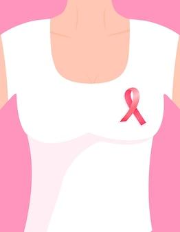 胸にピンクのリボンをピンで留めた白いtシャツの半袖の女の子。