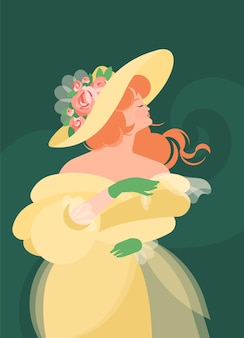 Стоит девушка в желтом пушистом платье 18-19 веков и держит шарф в зеленых перчатках. рыжие волосы появляются на ветру. красочные иллюстрации в плоском мультяшном стиле.