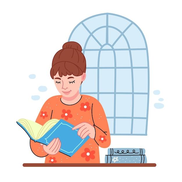 주황색 스웨터를 입은 소녀가 책을 읽습니다. 여학생이 공부 중입니다.