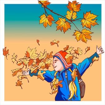 秋の服を着た女の子が乾いた葉で遊んでいます。街歩きからの幸せの感動。カラフルな秋の要素を持つバナー。ベクトルイラスト。秋のバナーの背景。