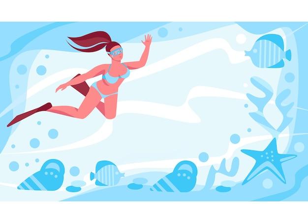 Девушка в ластах и маске плавает в глубинах океана. морские звезды, моллюски, рыба. векторный шаблон. иллюстрация в плоском мультяшном стиле.