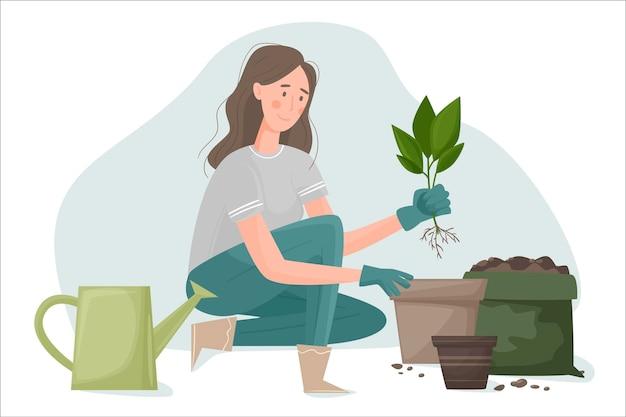 Девушка в садовых перчатках пересадила комнатное растение в горшок побольше. почва для горшков и различные предметы домашнего обихода, такие как лейка, почва для растений и горшки.