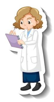 Девушка в научном платье мультипликационный персонаж стикер