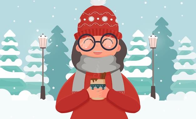 Девушка в теплой одежде держит в руках горячий напиток. зимний лес с елями. вектор.