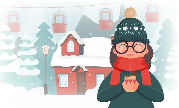 Девушка в зимней одежде держит горячий напиток. дом в заснеженном лесу. елки, горы, снег, фуникулер или канатная дорога. баннер с пространством для текста. векторная иллюстрация.