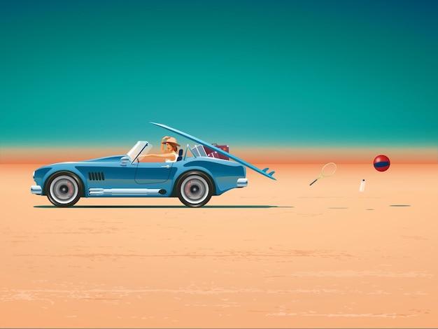 Девушка едет на машине в отпуск. автомобиль едет по пустыне. отдых на пляже. . автомобиль с открытым верхом. синий спортивный автомобиль быстро едет по равнине.