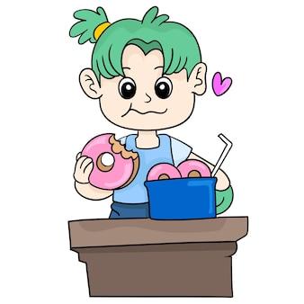 한 소녀가 달콤한 도넛을 먹고 있습니다. 만화 삽화 스티커 이모티콘