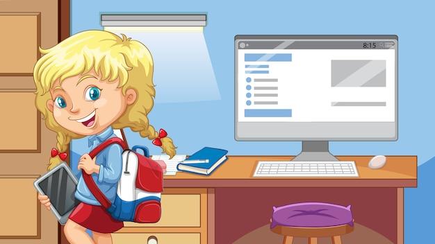 소녀는 컴퓨터 배경으로 방에