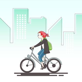 소녀는 자전거 개념 그림을 타고