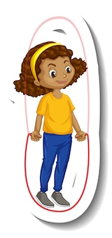 縄跳びの女の子の漫画のキャラクターのステッカー