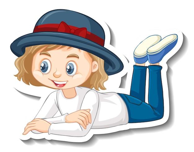 ポーズ漫画のキャラクターのステッカーを置く女の子