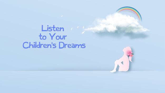 Девушка смотрит на облако мечты. идея идеи девушки мечтая