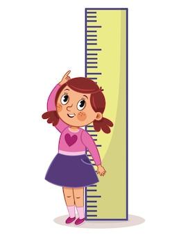 Девушка измеряет свой рост с большой линейкой векторные иллюстрации