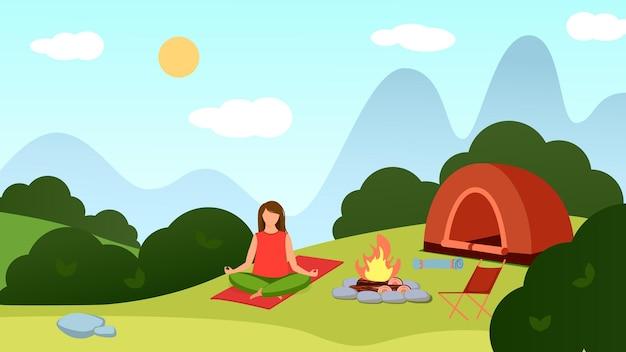 風景の背景にいる女の子が火のそばで瞑想します。テント、森、椅子。ベクトルイラスト。
