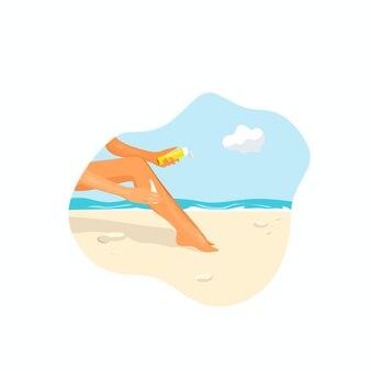 해변에 있는 한 소녀가 자외선 차단제 벡터 만화 삽화로 발을 문지릅니다.