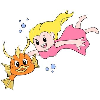 Девушка в отпуске ныряет на дно моря, плавает с рыбой, векторная иллюстрация искусства. каракули изображение значка каваи.