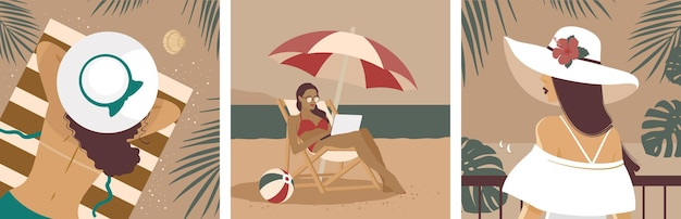 해변에서 휴가 중인 소녀. 일러스트 세트입니다.
