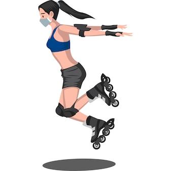 医療用マスクを使用しながらフリースタイルローラースケートをしている女の子