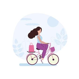 女の子が店で買い物をするために自転車に乗る。サイクリングに従事する美しい少女を描く。市内の野外活動のコンセプト。ベクトルフラット漫画イラスト