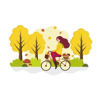 한 소녀가 버섯을 사러 가을 숲을 가로질러 자전거를 탄다. 야외 레크리에이션, 스포츠 및 건강의 개념입니다. 벡터 만화 평면 그림입니다.