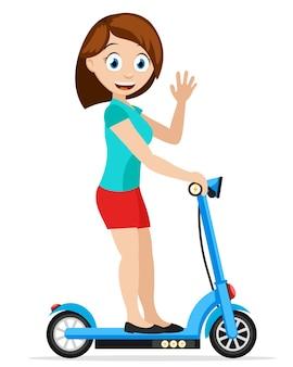 소녀가 전기 스쿠터를 탄다.