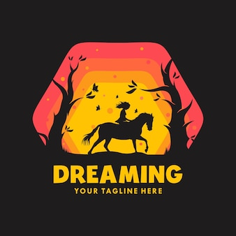석양에 말을 타는 소녀