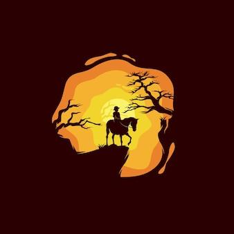崖の上で馬に乗る少女