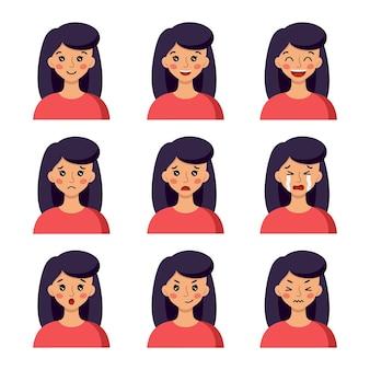 다른 감정을 가진 소녀의 얼굴: 재미, 웃음, 분노, 분개, 조롱. 만화 스타일의 벡터 캐릭터입니다.