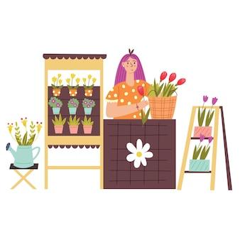女の子が屋台のカウンターで花を売っています。漫画スタイルのモダンなベクトルフラットイラスト