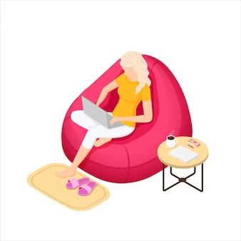 ノートパソコンとバッグの椅子に座っている女の子。アイソメ図スタイルのイラスト。
