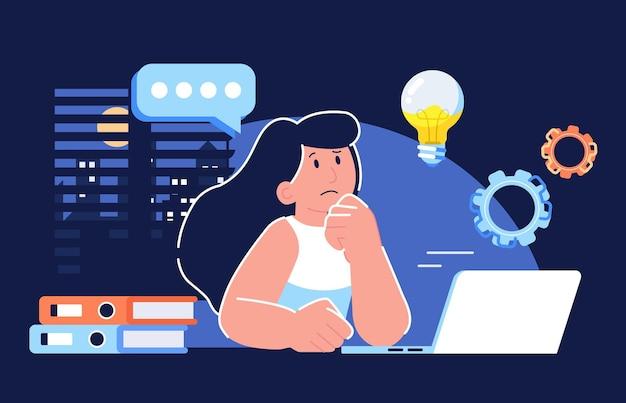 컴퓨터 생각 앞에 앉아있는 여자