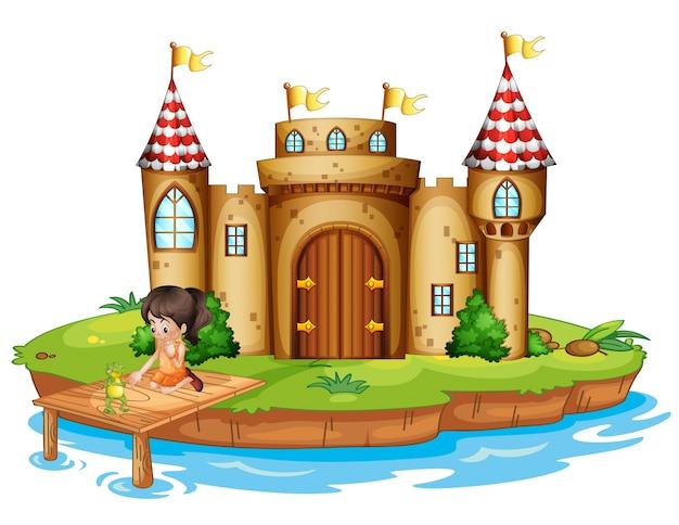 Девушка, сидящая с лягушкой перед замком