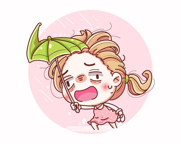 무거운 폭풍우와 만화 캐릭터 디자인에 우산을 펼치는 소녀.
