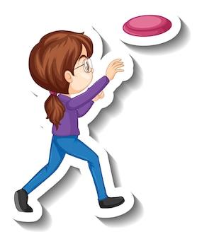 プレート漫画のキャラクターステッカーを投げる女の子