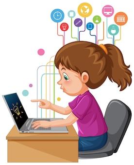 온라인 원격 학습을 위해 노트북 컴퓨터를 사용하는 소녀