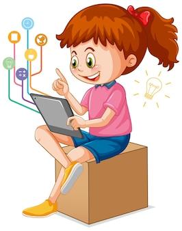 Девушка с помощью планшета для дистанционного обучения онлайн