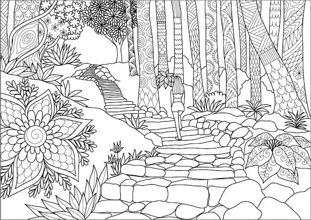정글에서 걷는 여자