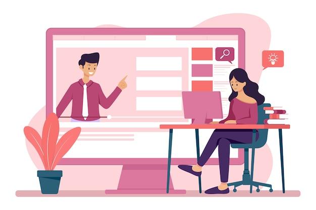 소녀는 온라인 학습을 위해 비디오를 시청합니다. .