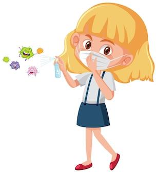 마스크를 쓰고 바이러스 만화 캐릭터와 함께 알코올 소독제를 사용하는 소녀