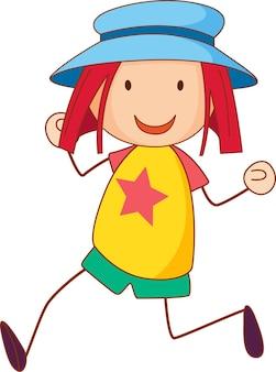 손으로 그린 낙서 스타일의 모자 만화 캐릭터를 입은 소녀