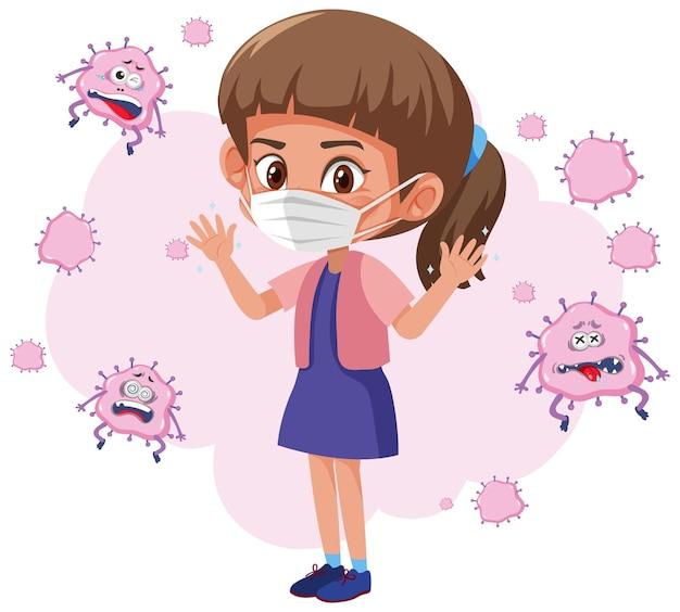 孤立したウイルスが飛び回るマスクを身に着けている女の子