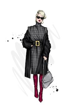美しい髪型とスタイリッシュなコートを着た女の子。ファッションイラスト。